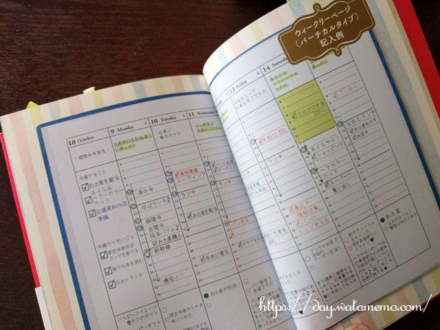 さとうめぐみ著『幸せな人がこっそりやっている手帳の書き方』ウィークリーページ