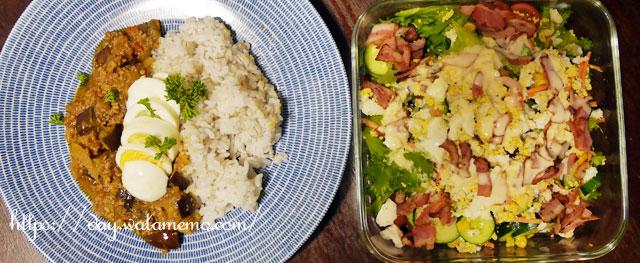 主菜: 具沢山!コロコロ野菜のドライカレー、副菜: レタスときゅうりのシーザーサラダ