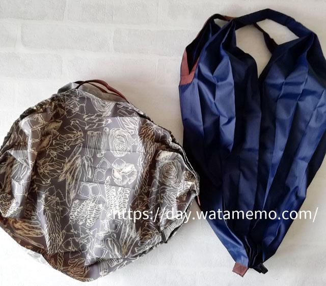 マーナのエコバッグ、シュパットコンパクトMサイズとドロップ型比較
